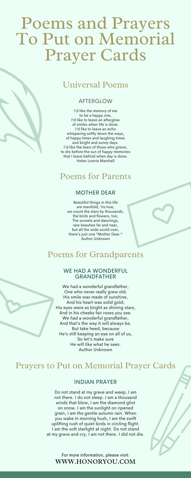 Poems and Prayers To Put on Memorial Prayer Cards