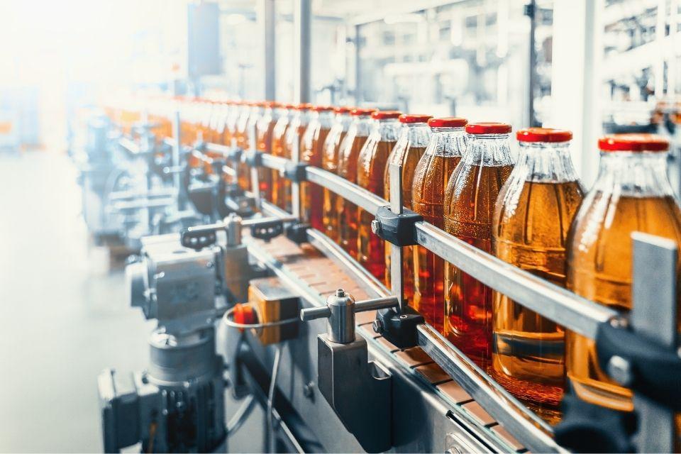 assembly line of bottles